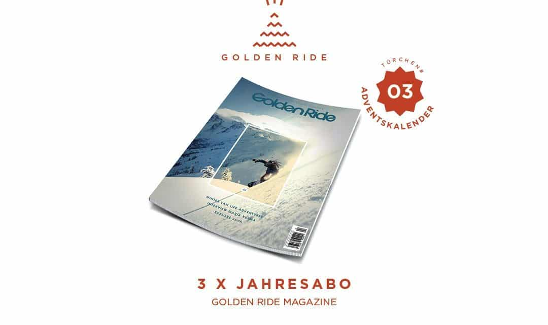 Adventskalender 3. Türchen: 3x Golden Ride Jahresabo