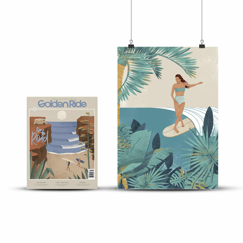 """Surf-Augabe """"On the road"""" und Print Jungle Walk von Pia Himmelein"""