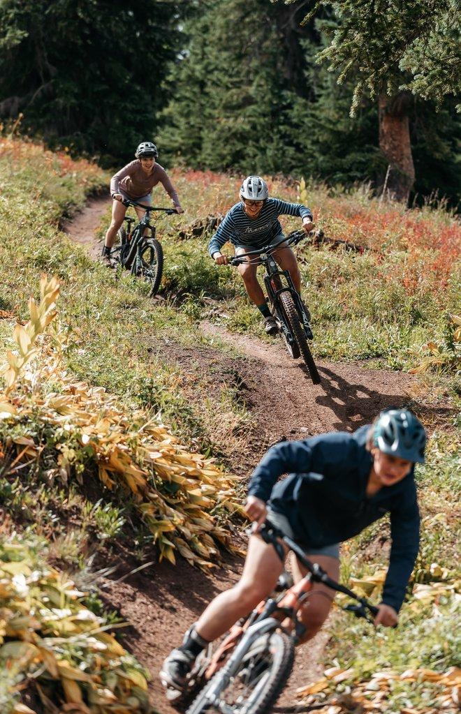 Drei Mountainbikerinnen in Silverton, CO